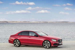 Mercedes Benz E-class in red