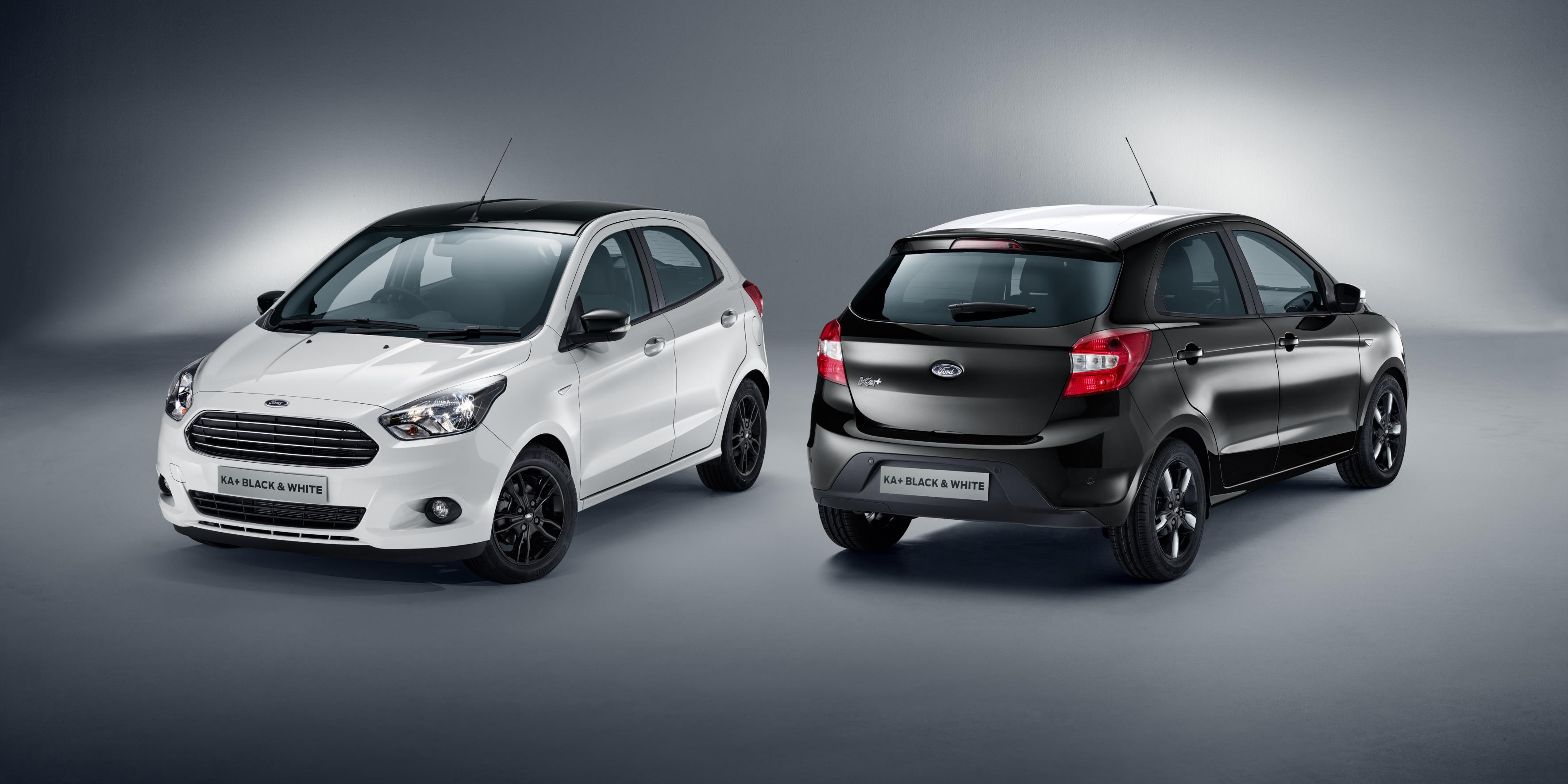 Ford KA+ black white front and rear