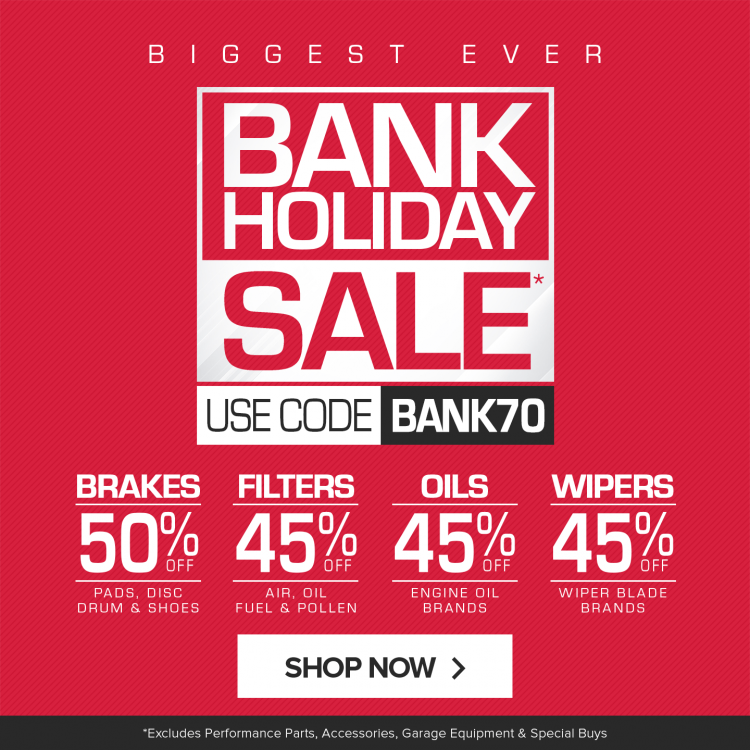 EURO CAR PARTS BANK HOLIDAY SALE IS NOW ON.