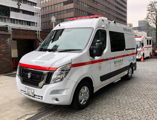 A BATTERY POWERED NISSAN NV400 AMBULANCE.